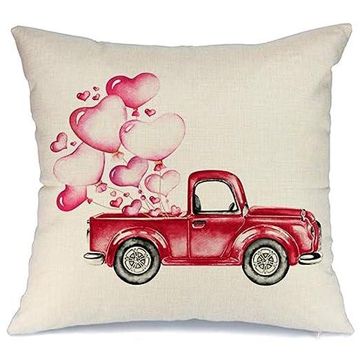 Valentines Funda de Almohada para sofá Rojo camión Hot Love ...