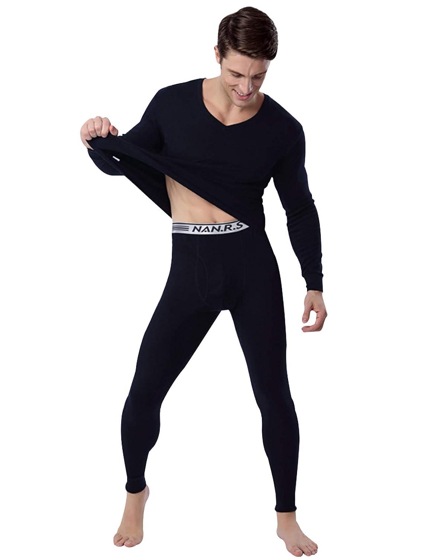 newrong Mens Cotton Thermal Underwear Set Shirt/&Leggings