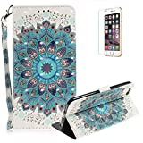 Funyye Folio Wallet Case for iPhone 6/6S,Stylish 3D Peacock Flower Fantasy Painted Design Strap Magnetic Flip Case with Stand Credit Card Holder Slots Soft Silicone PU Leather Case for iPhone 6/6S 4.7 inch,Full Body Shockproof Non Slip Smart Durable Shell Protective Case with Screen Protector