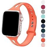 FRESHCLOUD コンパチブル apple watch バンド アップルウォッチバンド スポーツバンド シリカゲルバンド apple watch series5 4 3 2 1に対応 38mm 40mm おしゃれ 交換ベルト 柔らかいシリコン素材 (パパイヤ色)