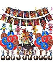 Five Nights at Freddy's Party Decorations, Include 1 Pcs Banner, 12 Pcs Latex Balloons, 25 Pcs Cake Toppers and 6 Pcs Spiral Pendant, Birthday Party Decorations