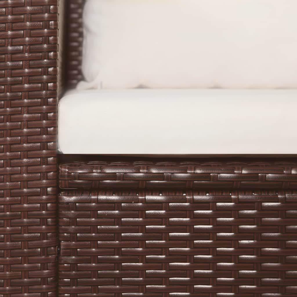 Divano con Cuscini e Tavolino 120 x 67 x 67 cm Tidyard Set Salottino a 4 Posti in PE Rattan Marrone