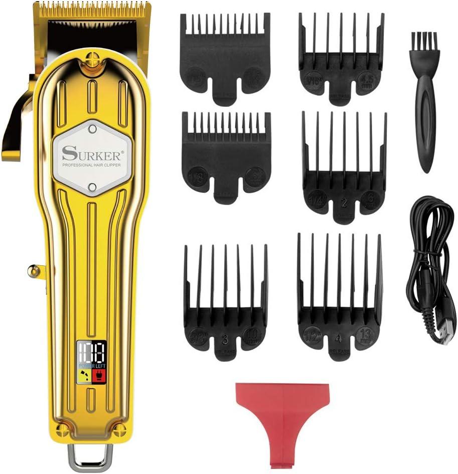 Surker Cortadora de cabello Cortapelos para hombres Maquina de cortar pelos Profesional Cortadora de barba USB Recargable con pantalla LCD inalámbrica