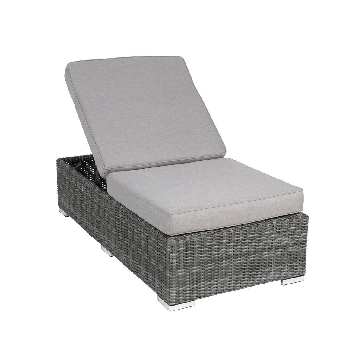 Gartenliege rattan grau  greemotion Gartenliege als Lounge-Modul Bari - Sonnenliege mit ...