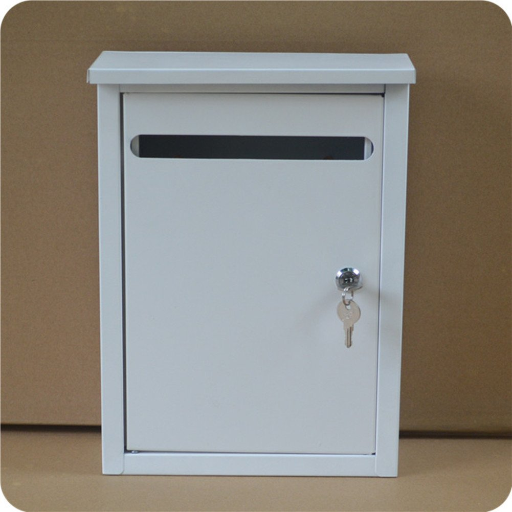 White mailbox Outdoor rainproof newspaper box Padded metal mailbox Newspaper delivery box with lock