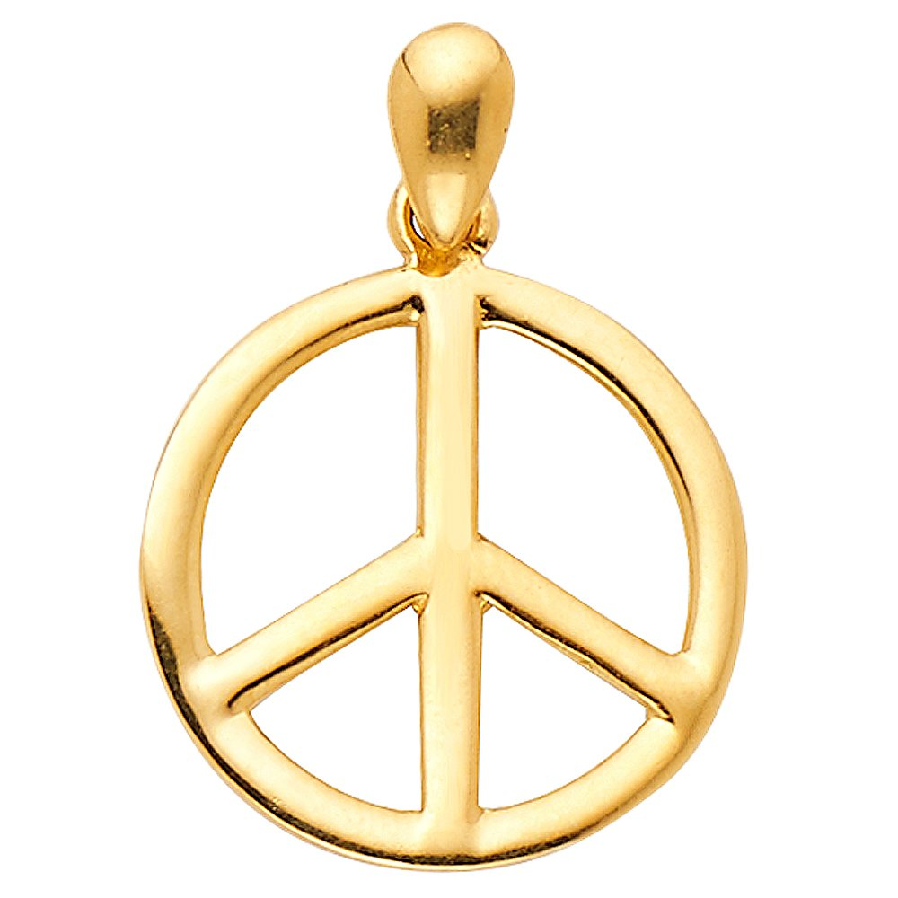The World Jewelry Center 14k Yellow Gold Peace Sign Pendant with 0.9mm Cable Chain Necklace