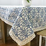 Vintage Navy Damask Pattern Decorative Macrame Lace Tablecloth, Zeafeel Rectangle Tablecloth Dinner Picnic Table Cloth Home Table Top Cover (55'' W x 98'' L)