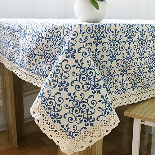 Vintage Navy Damask Pattern Decorative Macrame Lace Tablecloth, Zeafeel Rectangle Tablecloth Dinner Picnic Table Cloth Home Table Top Cover (55'' W x 98'' L) by Zeafeel