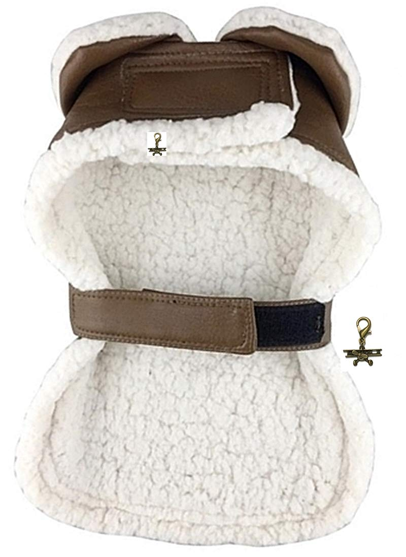 DOGGIE-DOGGIE Aviaton Pilot Aviator Bomber Jacket Harness - Includes Airplane Clip Charm Accessory and Matching Leash - Dog Sizes XS Thru 2XL (Large fits Neck 17''-19'', Chest 18''-22'', Warm Chocolate)