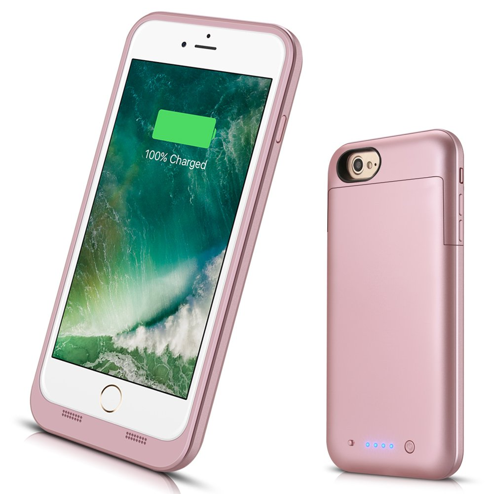 iPhone 7 Plus 8 Plus Battery Case, 7000mAh Extended Battery Power Charger iPhone 8/7 Plus(5.5inch) Ultra Slim Portable Rechargeable Backup Protective Charging Case/Lightning Port Input-Rose Gold