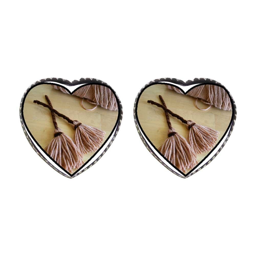 GiftJewelryShop Bronze Retro Style two Halloween witch broomstick Photo Stud Heart Earrings #12