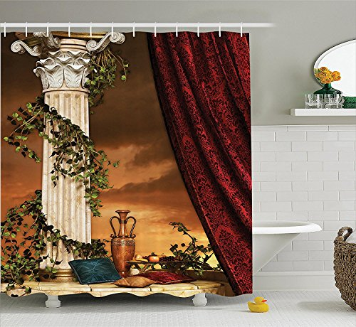 [Gothic House Decor Shower Curtain Set Greek Style Scene Climber Pillow Fruits Vine and Red Curtain Ancient Goddess Sunset Bathroom Accessories] (Camper Gothic Costumes)