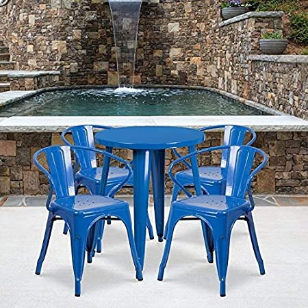 Lancaster Home 24 Round Metal Indoor-Outdoor Table Set with 4 Arm Chairs Black