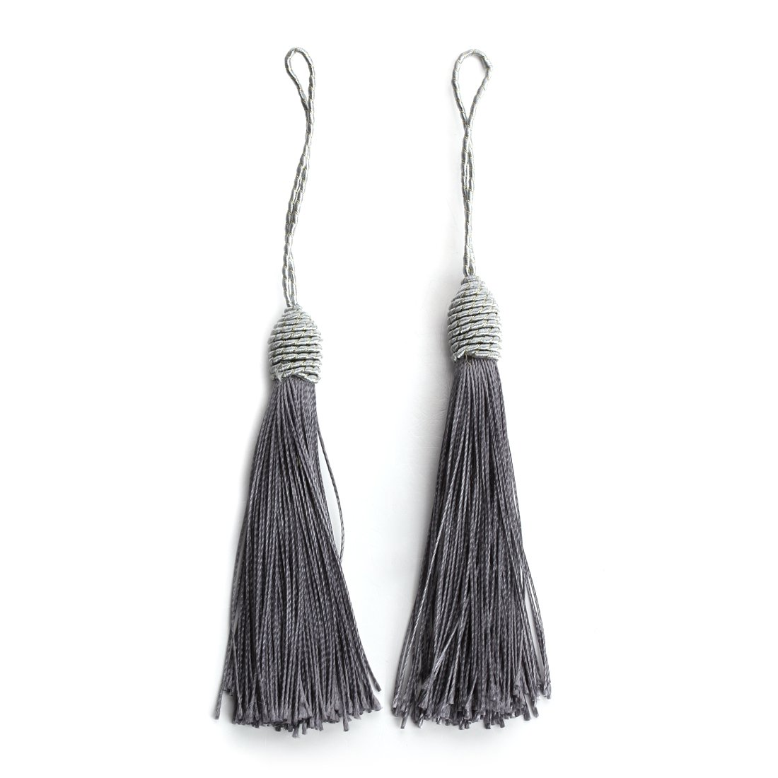 Linsoir Beads Black Long Silk Tassels 6 Inches Bohemian Style Tassel for Jewelry Making DIY Fashion Supplier 10 pcs/lot F4000BK00