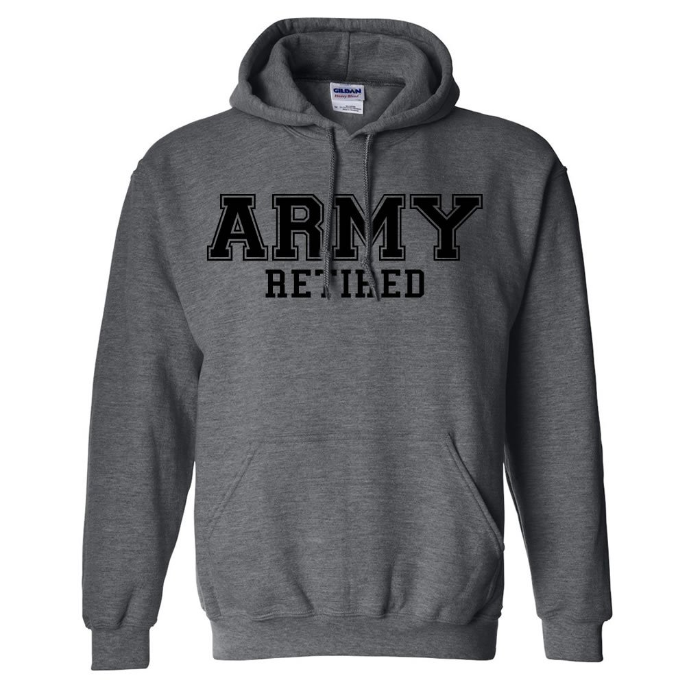 ARMY Retired BLACK logo Hooded Sweatshirt PA-1459