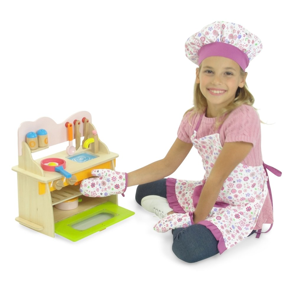 Oven Mittens and Chef Hat Girl and Doll Matching Pink Floral Baking Outfits with Apron Fits 18 American Girl Dolls 18 Inch Doll Clothes Emily Rose Doll Clothes