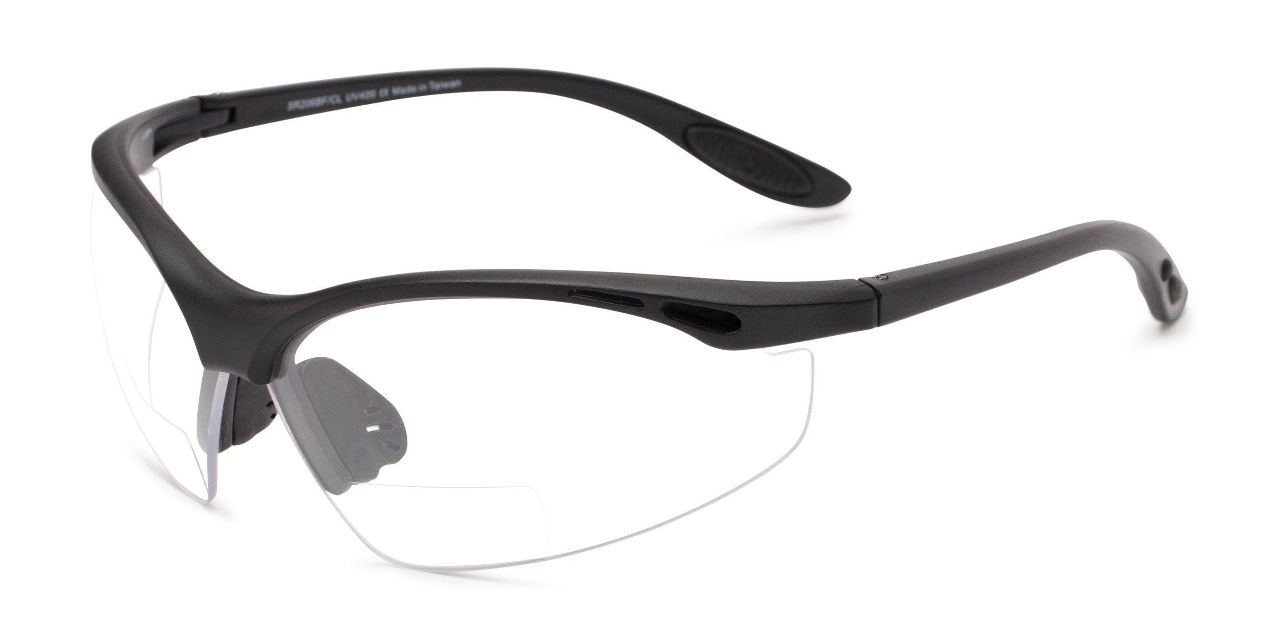 Readers.com | The Cooper Bifocal Safety Reader +1.50 Matte Black Frame with Clear Lenses Reading Glasses