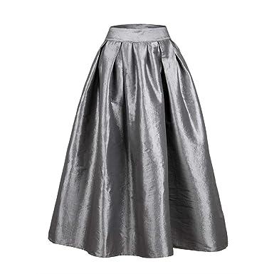 TIFIY Falda Larga Mujeres Cintura Alta Color Sólido Moda Falda de ...