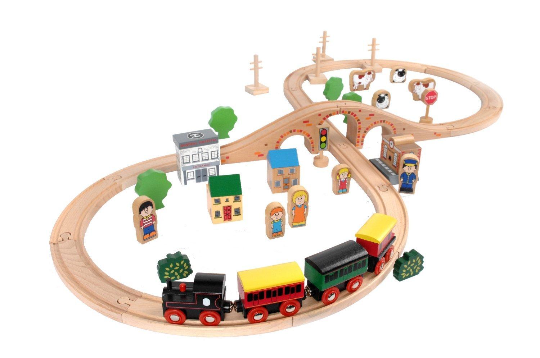 sc 1 st  Amazon.com & Amazon.com: Tidlo Wooden Train Set (50 Pieces): Toys u0026 Games