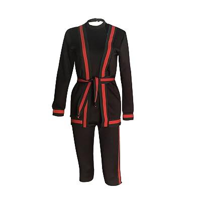 2 Piezas Conjunto Mujer De Esencial Vestir Monos Elegantes Splice Rayas Sin Mangas Slim Fit 3/4 Pantalones Moda Casual Jumpsuits For Women: Ropa y accesorios