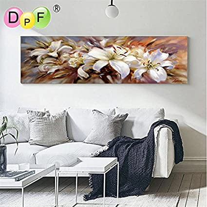 Lavenz 3D Diamond Painting cross stitch white lily Diy Diamond Embroidery round Full Mosaic Style For Living Room crafts home decor 1803-3815-B