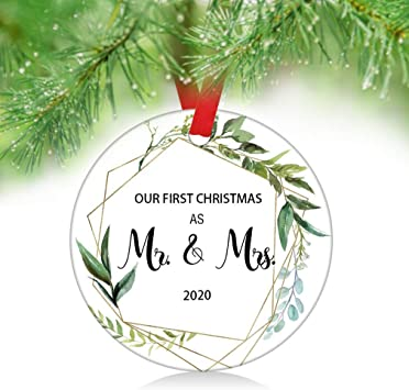 First Christmas Wedding Ornament 2020 Amazon.com: ZUNON 2020 Our First Christmas as Mr & Mrs Couple