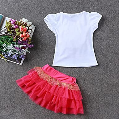 Girls Flower T-Shirt and Tutu Skirt Outfit