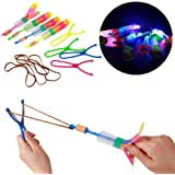 12 Amazing Arrow Rocket Copters. 2 Led Lights Helicopter Flying Toy - Elastic Powered Sling Shot Heli. Slingshot Arrows to Flare Copter by Chapter Seven
