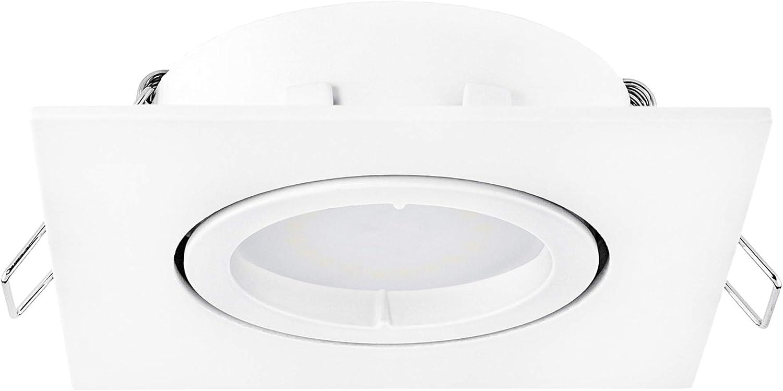 10 Stück linovum® fourSTEP Einbaudeckenspot LED schwenkbar dimmbar ohne Dimmer - LED GU10 5W neutralweiß 230V - weiß eckig 10er-set - Weiß Lackiert
