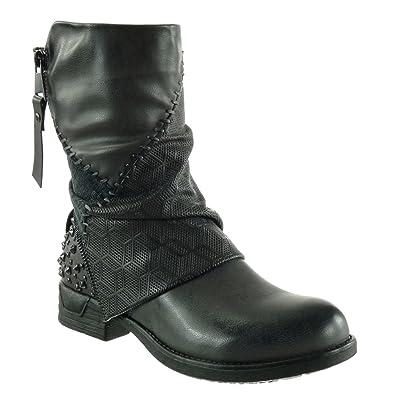 Angkorly - damen Schuhe Stiefeletten - Biker - Reitstiefel - Kavalier - Nieten - besetzt - Geflochten - nähen Blockabsatz 3 CM - Braun F2255 T 40 IhSjkCo
