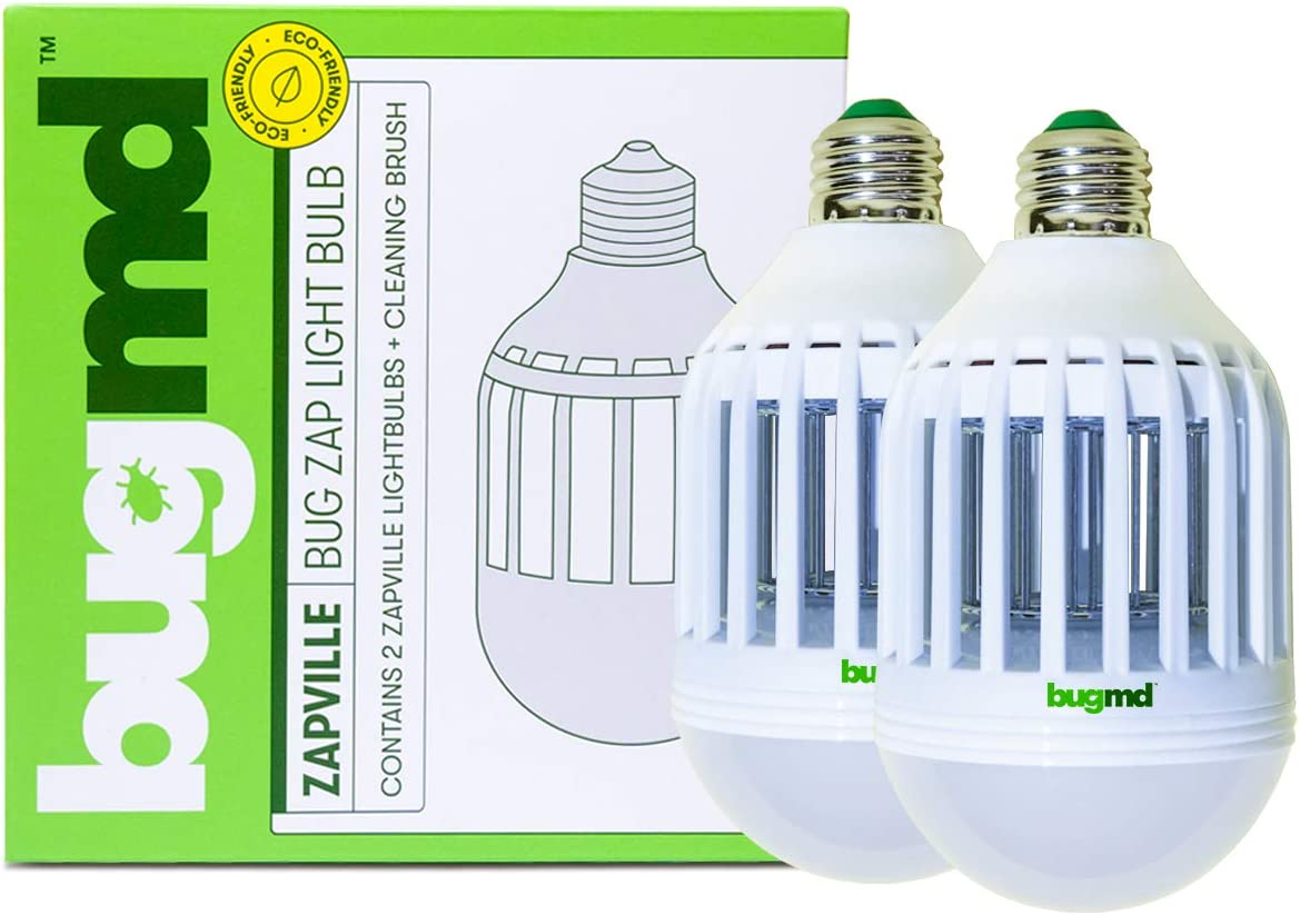 bugmd Zapville Bug Zapper Indoor UV and LED Light Bulb Attracts Mosquitos Insects Bugs Electric Chemical-Free Nontoxic Pest Control for Patios Porches Garage Shed for E27/E26 Base