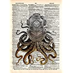 Octopus in a vintage brass diving helmet, cool nautical steampunk art print 5