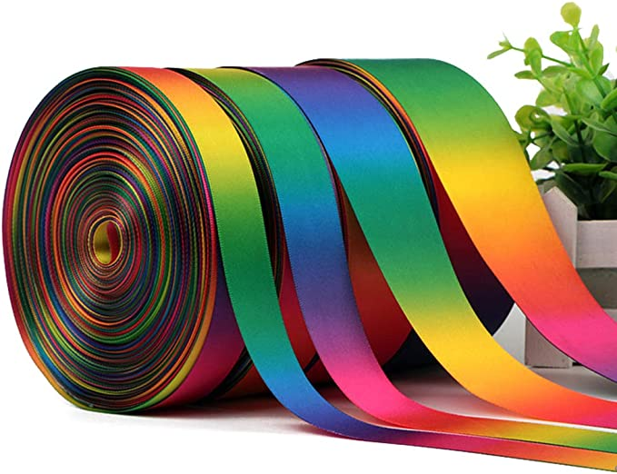 Tong Gu 50 Yards Rainbow Double Sided Pastel Satin Grosgrain Ribbon Reel Gift Decor Chic A, Width: 9mm