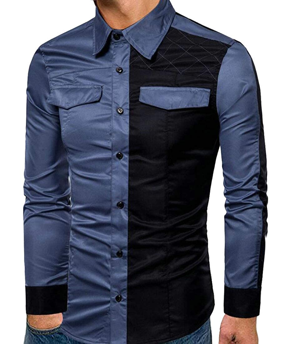 Yyear Men Fashion Contrast Color Formal Long Sleeve Buttons Dress