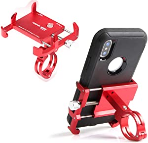 GUB Thick Case Design Bike & Motorcycle Phone Mount Handlebar Holder Adjustable Compatible with iPhone XR Xs 7s 8 Plus,Compatible with SamsungS7/S6/Note5/4,Any Cell Phones with Thick Phone Case (red)