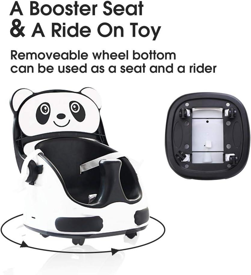 bandeja de alimentaci/ón desmontable y ajustable blanco y negro bonito asiento de ducha panda juguete para montar en casa Asiento elevador 6 en 1 para silla de comedor con respaldo convertible