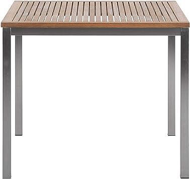 CHICREAT - Mesa extensible de comedor para el jardín de madera de teca con acero inoxidable, aproximadamente 90 x 90 cm: Amazon.es: Jardín