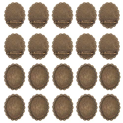 (PandaHall 10 Pcs Alloy Brooch Clasps Pin Disk Base Pad Bezel Blank Cabochon Trays Backs Bar 40x30mm for Badge, Corsage, Name Tags and Jewelry Craft Making Antique Bronze)