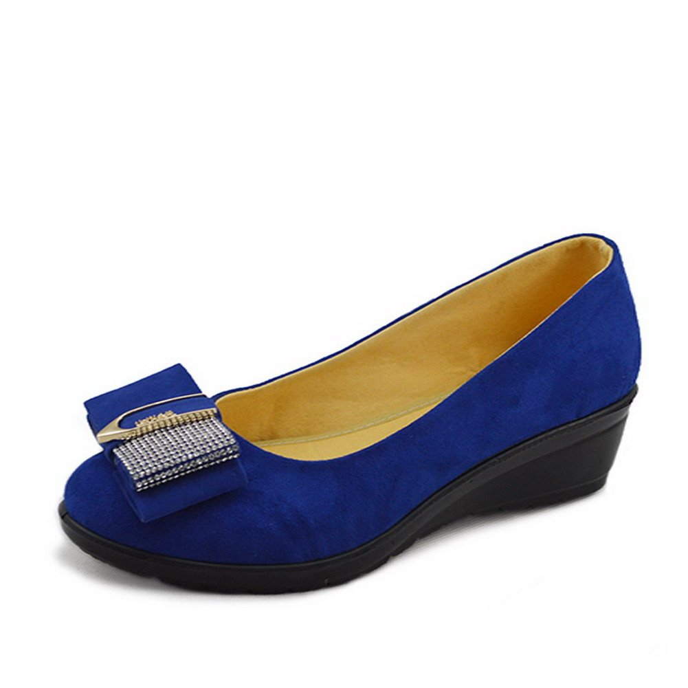 VogueZone009 Womens Closed Square Toe Low Heel Wedges Fabric Solid Pumps with Glass Diamond, Blue, 8 B(M) US