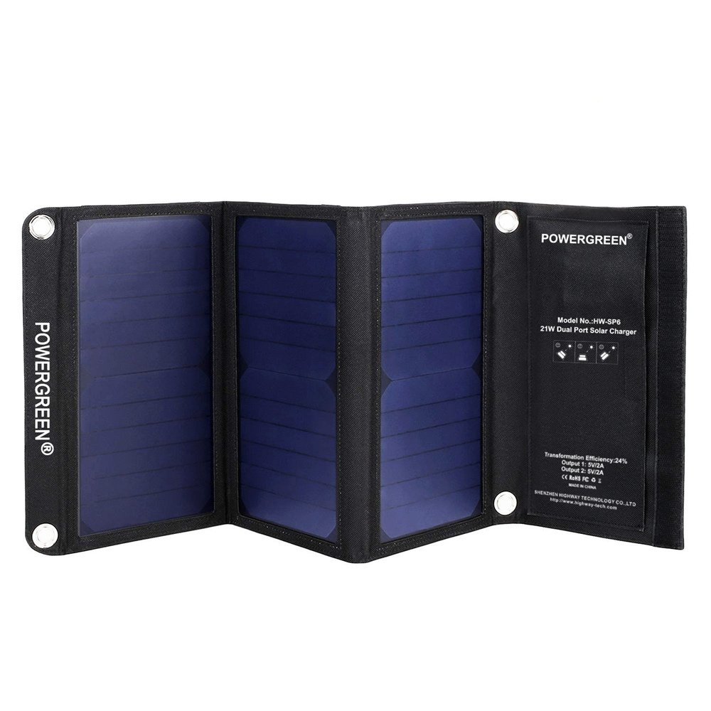 PowerGreen® 21W Portable Folding Solar Charger with Dual USB Port for all 5V Digital Mobile Devices (Black) by PowerGreen