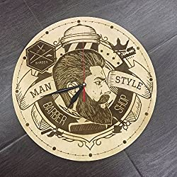 Barber Shop Wall Clock Made of WOOD - Perfect and Beautifully Cut - Decorate your Home with MODERN ART - UNIQUE GIFT for Him and Her - Size 12 Inches