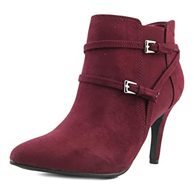 Zoeyy Women Pointed Toe Suede Burgundy Bootie