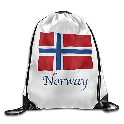 Unisex bolsa bandera de Noruega, Noruega bandera cordón mochila
