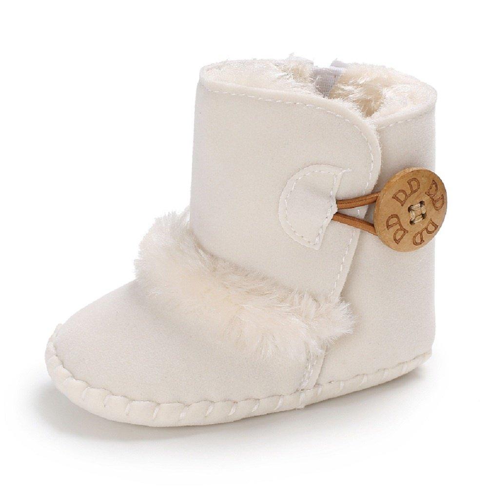 Meeshine Winter Warm Baby Boots Premium Soft Sole Prewalker Newborn Infant Boy Girl Crib Shoes Snow Boots(Small / 0-6 Months,White 01)