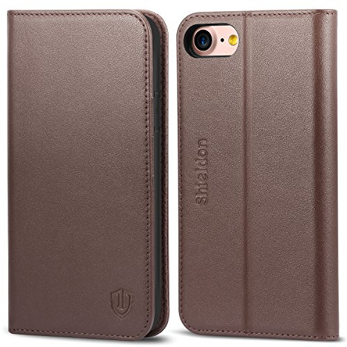 Design Genuine Leather (iPhone 8 Case, iPhone 7 Case, SHIELDON Genuine Leather Wallet Folio Case Book Design with Stand and ID Credit Card Slots Magnetic Closure TPU Shcokproof Interior Case for iPhone 7/8 - Coffee Brown)