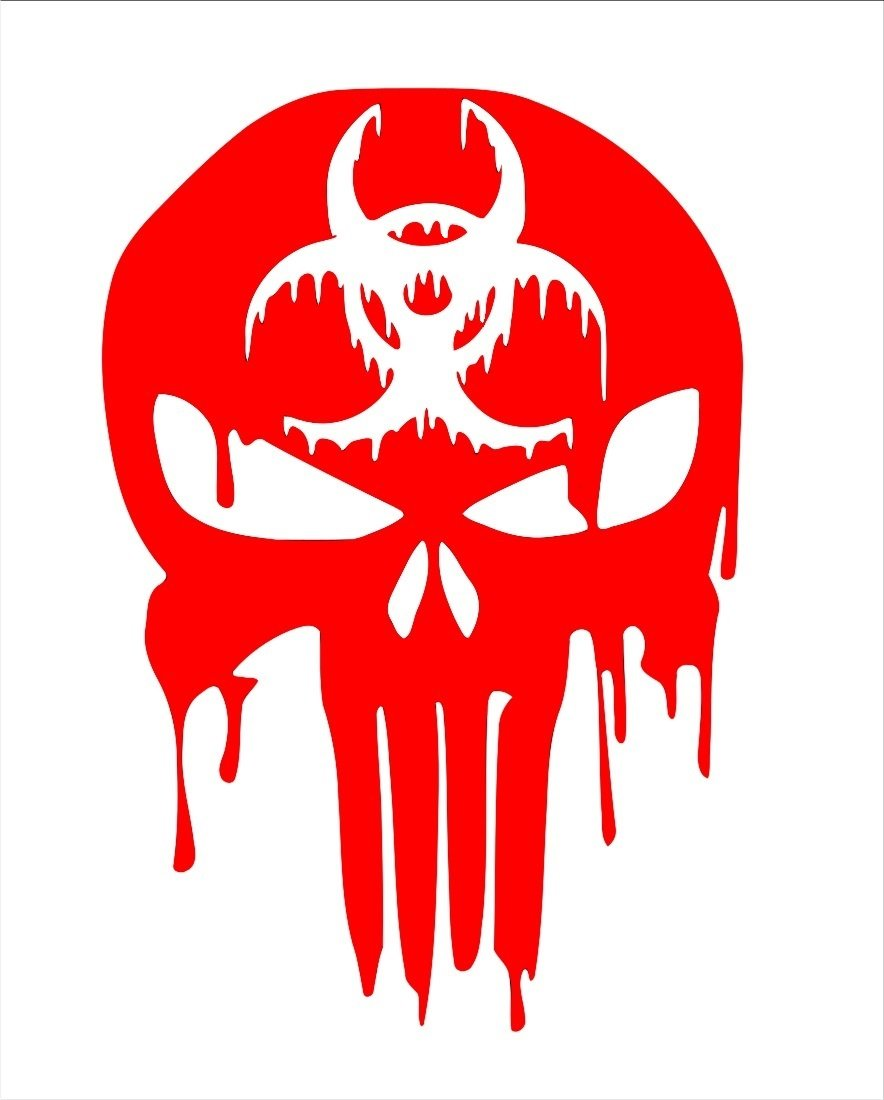Ur impressions red biohazard bloody punisher skull decal vinyl sticker graphics for cars trucks suv vans walls windows laptopred5 5 x 4 3 inchuri347