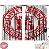 Jinguizi 16th Birthday Curtain Decoration Vintage Rubber Stamp Old Fashioned Greeting Sign Time Flies Theme Print Family Darkening Curtains Vermilion White W55 x L39