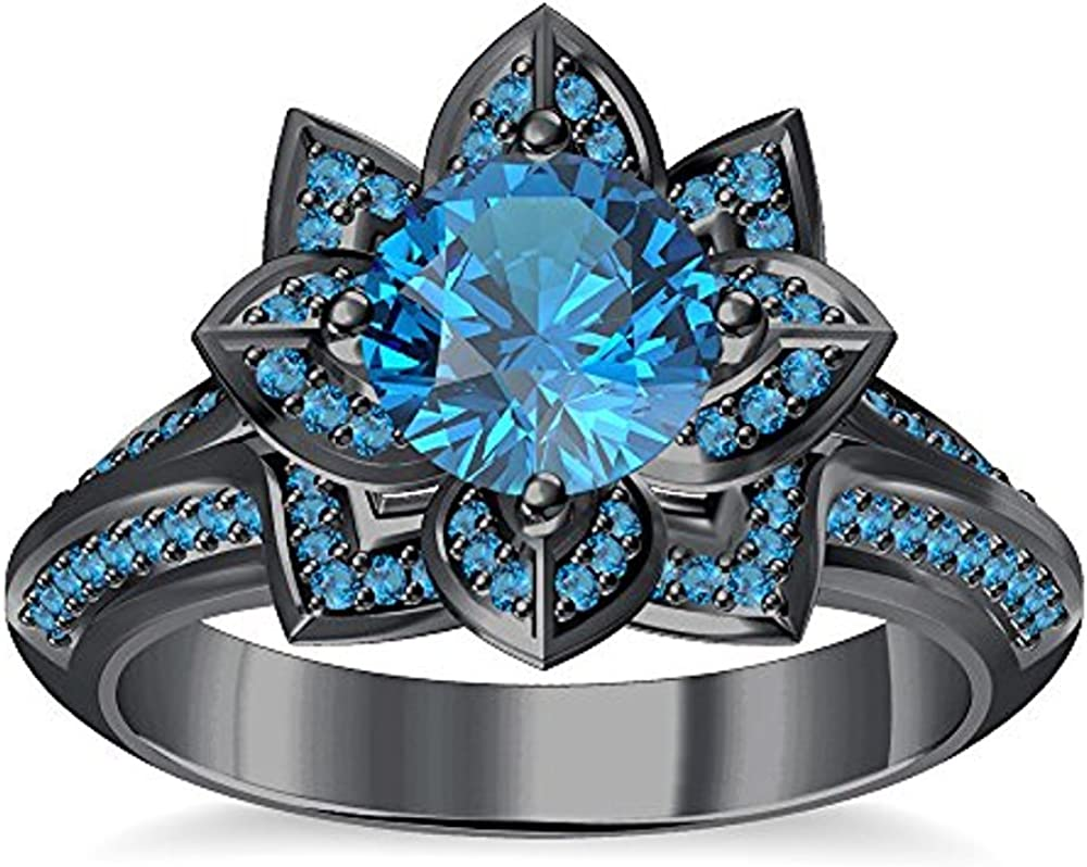 tusakha Round Created White Sapphire Engagement Wedding Lotus Flower Ring in 14K White Gold Plated