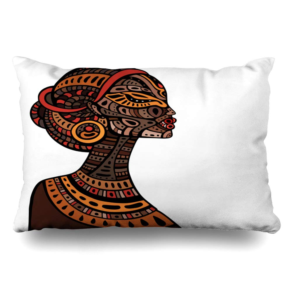 Ahawoso クッションカバー キングサイズ 20x36 首 豊富な品 オレンジ 2020新作 アメリカンプロファイル ブラックボディ レッドヘア B07RG8QZBR ホームデコレーション枕カバー アフリカンドローン 抽象的なアフリカ
