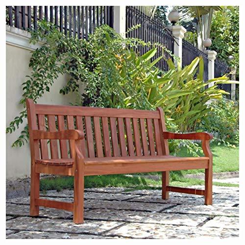 Garden Bench, 5-Ft Outdoor Wooden Garden Bench with Armrests